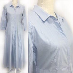 NWT Zara Blue & White Striped Maxi Dress Sz M